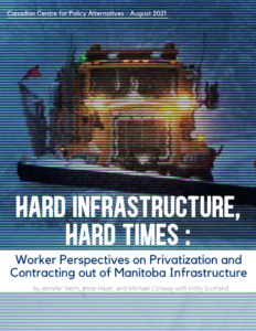 Report cover has a blurry image of a snow-plow with the title: Hard Infrastructure, Hard Times: Worker Perspectives on Privatization of Manitoba Infrastructure